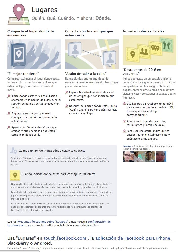 Lugares Facebook España Disponible